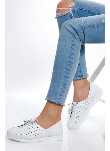 Derithy Hakiki Deri Sneaker Beyaz